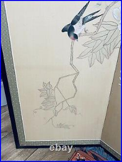 Vintage Japanese 4 Panel Folding Screen 35 x 69.5 Birds and Cherry Blossom
