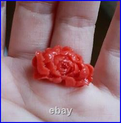 Vintage Japanese Aka Red Coral Carved Flower for Ring or Pendant