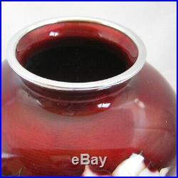 Vintage Japanese Ando Cloisonne wired rose design Globular Vase