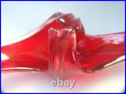 Vintage Japanese Art Glass Red & Crystal Basket Collectables Mid-Century