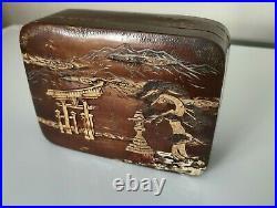 Vintage Japanese Box Cherry Bark Decorative Box Mixed Media Style Kabazaiku