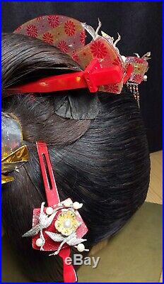 Vintage Japanese Bride Kushi Kanzashi set Kimono Wedding Hair Ornament #1268