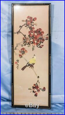 Vintage Japanese Canary Cherry Blossom Framed Art Print dq