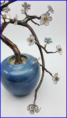 Vintage Japanese Cherry Flower Bonsai Tree Enamel On Copper