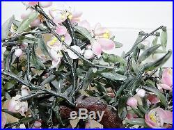 Vintage Japanese Chinese Carved Jade Pink Cherry Blossom Bonsai Tree Plant 19