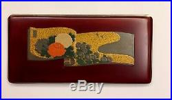 Vintage Japanese Cigarette Case Red & Polychrome Lacquer on Metal Tanaka Scroll