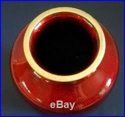 Vintage Japanese Cloisonne Akatsuki Vase Basse Taille Pigeon Blood 9 inch