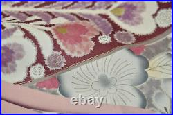 Vintage Japanese Deep Red/Ivory Silk'Peacocks' Furisode/Wedding Kimono VGC L/XL