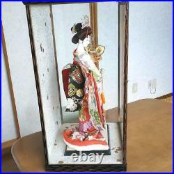 Vintage Japanese Doll Geisha in Kimono 18.5 47cm in Glass Case Samurai Helmet