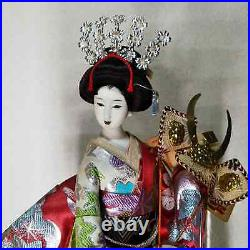 Vintage Japanese Doll Geisha in Kimono 18.5 47cm on wooden base Samurai Helmet