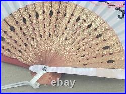 Vintage Japanese Framed Silk Mother Of Pearl Large Fan Cherry Blossoms Carriage