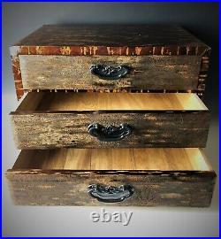 Vintage Japanese Furniture Cherry tree bark small cabinet, Sakura craft L. 15inch