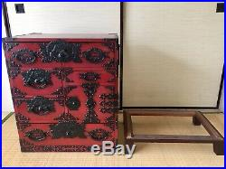 Vintage Japanese Furniture clothes chest interior cabinet tansu red lacquered