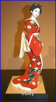 Vintage Japanese Geisha Hakata Doll in Kimono. Clay Handmade 14