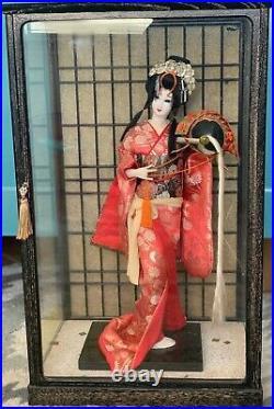 Vintage Japanese Geisha doll in Kimono 17 43cm in glass case 21