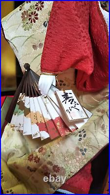 Vintage Japanese Geisha doll in Kimono 22 on wooden base Antique 30-40 years
