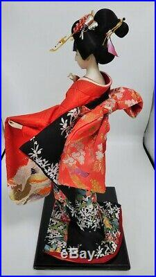 Vintage Japanese Geisha doll in Kimono 23 on wooden base Antiques 30-40years