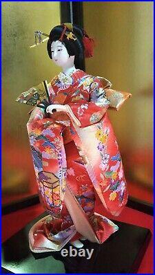 Vintage Japanese Geisha doll in Kimono on wooden base Antique BEAUTIFUL 18 47cm