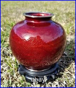 Vintage Japanese Ginbari Foil Vase Pigeon Blood Red Enamel Flying Bird Cloisonne