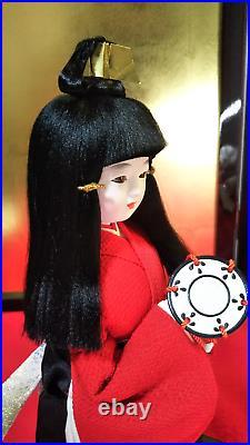 Vintage Japanese Girl Doll in Kimono Lovely in Glass Case 13.5 35cm Antique