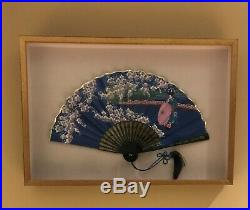 Vintage Japanese Hand Silk Paper Fan Woman with Parasol & Cherry Blossoms Framed