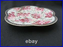 Vintage Japanese Inaba Cloisonne Enamel Plate cherry blossom flowers signed