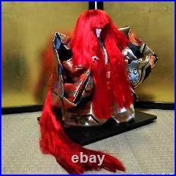 Vintage Japanese Kabuki doll in Glass Case Samurai Kimono Red hair EXCELLENT