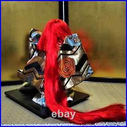 Vintage Japanese Kabuki doll on wooden base Samurai Kimono Red hair EXCELLENT