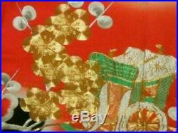 Vintage Japanese Kakeshita/Wedding Kimono Red/Black/Gold'Clouds & Blossoms' M/L
