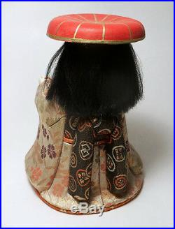 Vintage Japanese Kimekomi Geisha Doll with red hat