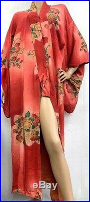 Vintage Japanese Kimono Long Robe Pink Mauve Red Floral Silk Open Front