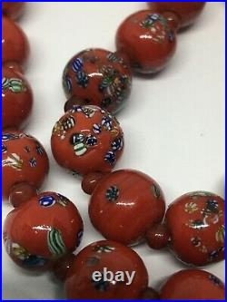 Vintage Japanese MILLEFIORI GLASS BEAD NECKLACE Red