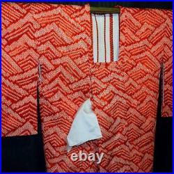 Vintage Japanese Michiyuki Woman's Jacket for Kimono Shibori Silk Choppy Seas