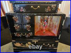 Vintage Japanese Music Jewelry & Music Box, Black Lacquer withred drawer inlay