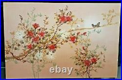 Vintage Japanese Original Oil Painting Cherry Blossoms And Red Avadavat Birds