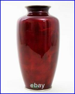 Vintage Japanese Pigeon Blood Red Cloissone Enamel Vase 10 Floral Design