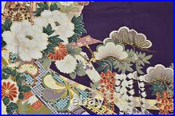 Vintage Japanese Purple/Gold Silk Crepe'Ribbons' Furisode/Wedding Kimono L/XL