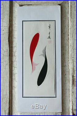 Vintage Japanese Red & Black Koi Minimalist Artwork Ink & Watercolor Possibly
