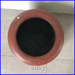 Vintage Japanese Red Hibachi Pot Container Brazier Burnner Signed