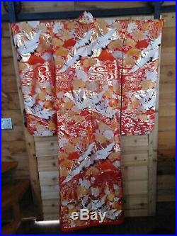 Vintage Japanese Red Kimono With Full Beautiful Embroidery