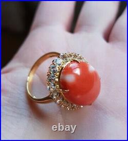 Vintage Japanese Red Momo Coral Ring 9K Yellow Gold + Natural Topaz
