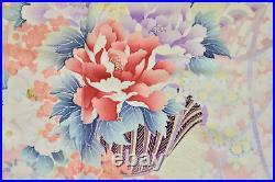 Vintage Japanese Red/Pink'Peony, Camellia, Plum' Furisode/Wedding Kimono 12-14