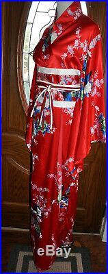Vintage Japanese Red White and Blue Kimono, Wedding Kimono Robe