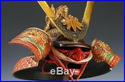 Vintage Japanese Samurai Helmet -Yoshitsune Kabuto- Red Beard Mask Tsushima