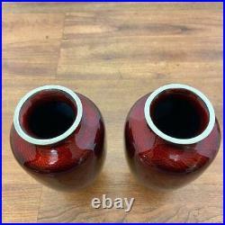 Vintage Japanese Sato Ginbari Pigeon Blood Cloisonne Enamel Flower Vase Set of 5