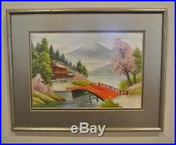 Vintage Japanese Silk Embroidery Picture Mt Fuji Japan Cherry Blossom Tree Scene