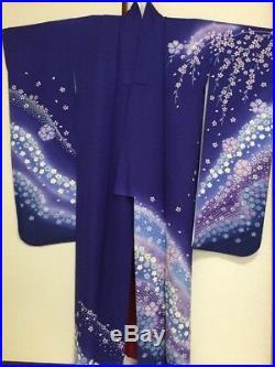Vintage Japanese Silk Kimono Dress FURISODE, Cherry Blossom, Ume, Navy Blue K961
