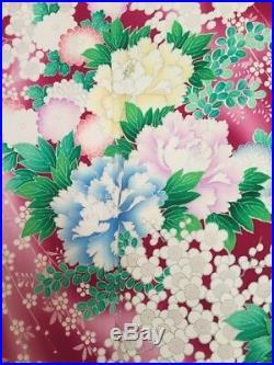 Vintage Japanese Silk Kimono Dress FURISODE, Ume, Peony, Iris, Mum, Red K958