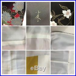 Vintage Japanese Silk Kimono FURISODE, Butterfly, Cherry blossom, Black K1334