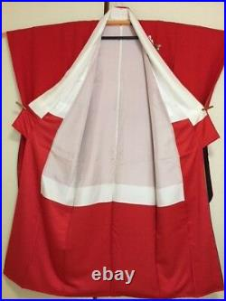 Vintage Japanese Silk Kimono FURISODE, Butterfly, Red K1221